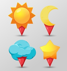 Weather Pin Icon Symbol Set vector
