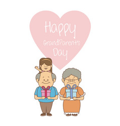 White background with elderly couple and girl with vector