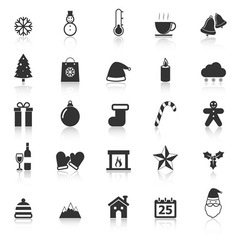 Winter icons with reflect on white background vector image