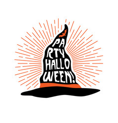witch hat with lettering party halloween flyer vector image