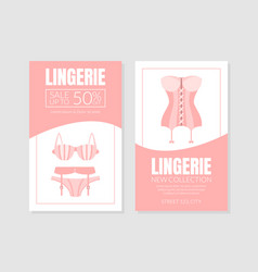 Woman langerie store two sided flyer vector