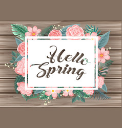 wooden board with word hello spring vector image