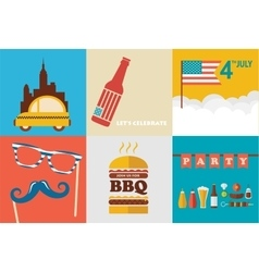 4th of July celebration an independence day set vector image