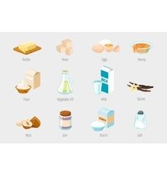 Baking ingredients in cartoon style Set of vector image vector image