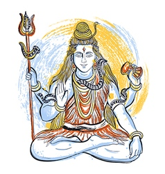 Indian god shiva with watercolor splashes vector