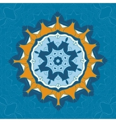 Blue and brown mandala ornament over symmetry vector image