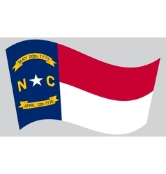 Flag of North Carolina waving on gray background vector image vector image