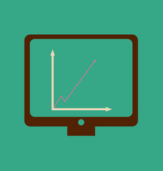 Flat web icon on stylish background economy graph vector