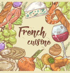 french cuisine hand drawn design with cheese vector image vector image