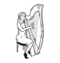 girl plays on harp engraving vector image