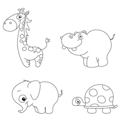 outlined cute animals vector image vector image