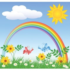 Rainbow Spring Meadows vector image