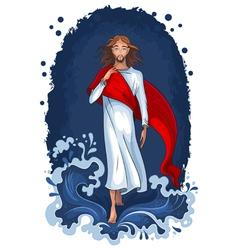 jesus walking on water vector image vector image