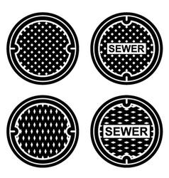 Manhole sewer cover black symbol vector