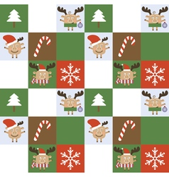 Merry christmas deer seamless background vector