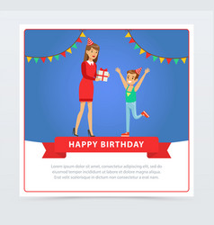 mother giving a gift to her son kids birthday vector image vector image
