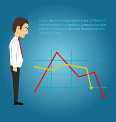 sad businessman looking at falling chart vector image