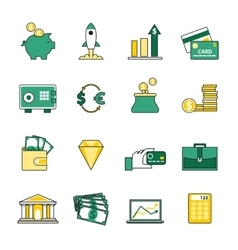 Set of banking and currency exchange line icons vector image