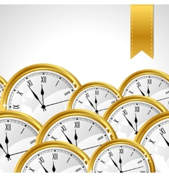 Stylish background with gold watches and ribbon vector image vector image