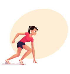 young and pretty female runner sprinter jogger vector image