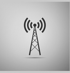 antenna flat icon on grey background vector image