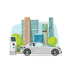 electric car charging from charger station near vector image