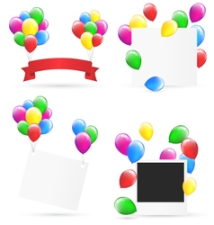 Festive frames with inflatable bright air balls vector image