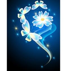 Neon butterflies and flower vector image