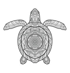 stylized underwater turtle vector image vector image