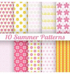 10 Light summer seamless patterns tiling Fond pink vector