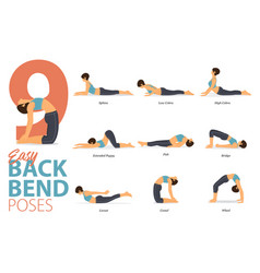 9 yoga poses for easy backbend vector