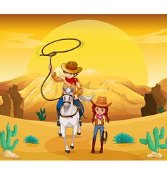 a cowboy and cowgirl at the desert vector image