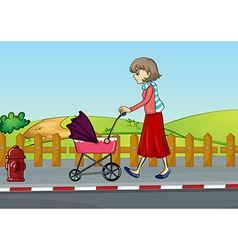 A woman and baby pram vector