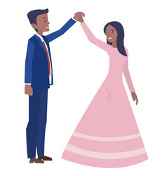 a young married couple dancing in the wedding vector image