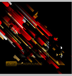 abstract gold and red colors shapes on a black vector image