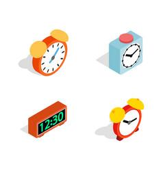alarm clock icon set isometric style vector image