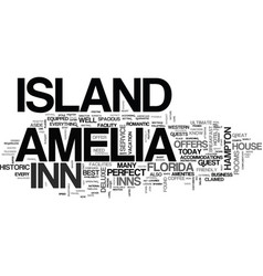 Amelia island hotels text word cloud concept vector