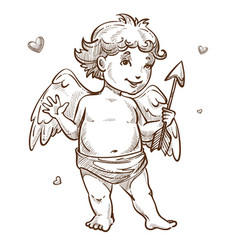 angel with arrow and wings valentines day cupid vector image