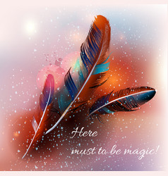 Background with feathers in realistic style vector