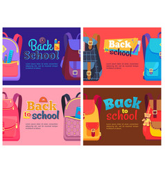 Backpacks for children with school stationery sets vector