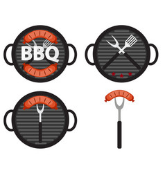bbq icon set with grill tools and sausage vector image