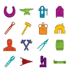 Blacksmith icons doodle set vector