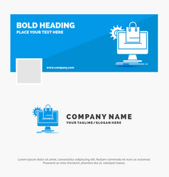 blue business logo template for shopping online vector image