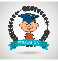 boy student graduation icon vector image