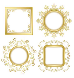 bright gold vintage frames with shadow vector image