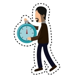 Businessman character avatar with chronometer vector