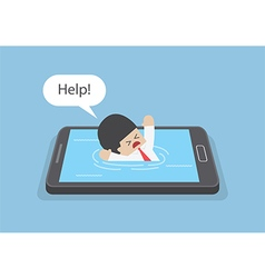 Businessman drowned or sank in the smartphone vector image