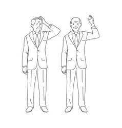 businessman puzzled and confused old man vector image