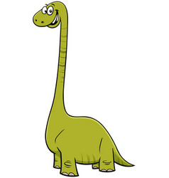 Cartoon happy dinosaur character vector