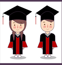 Cartoon style kids characters in graduation vector
